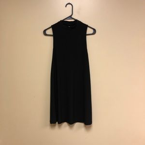 Black high neck sleeveless shift dress